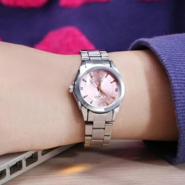 Relógio feminino aço inoxidável prata/rosa nary quartz