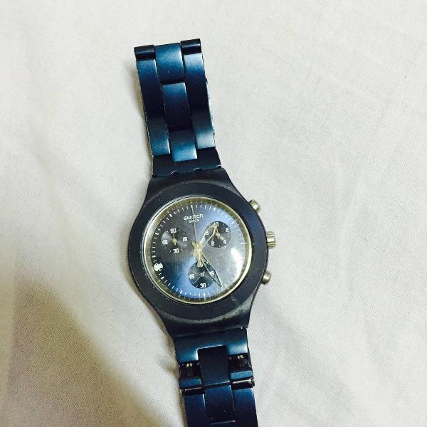 Relógio swatch diaphane chrono plus azul marinho