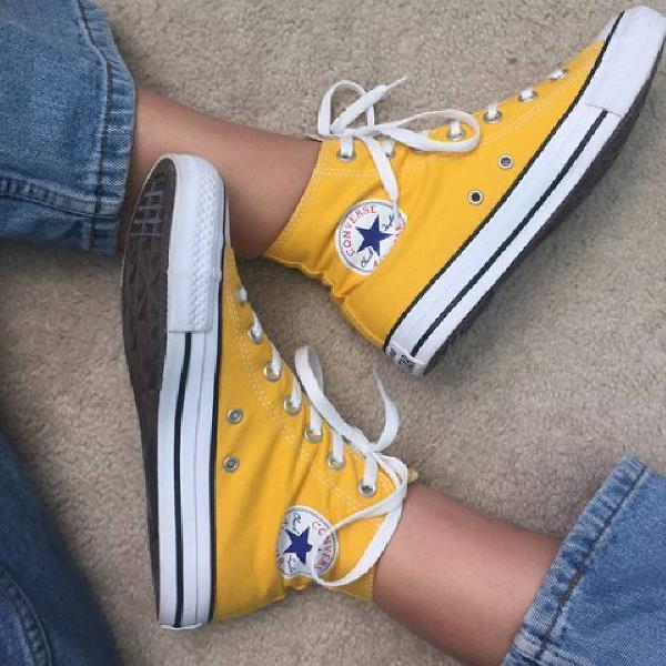 All star converse amarelo cano alto