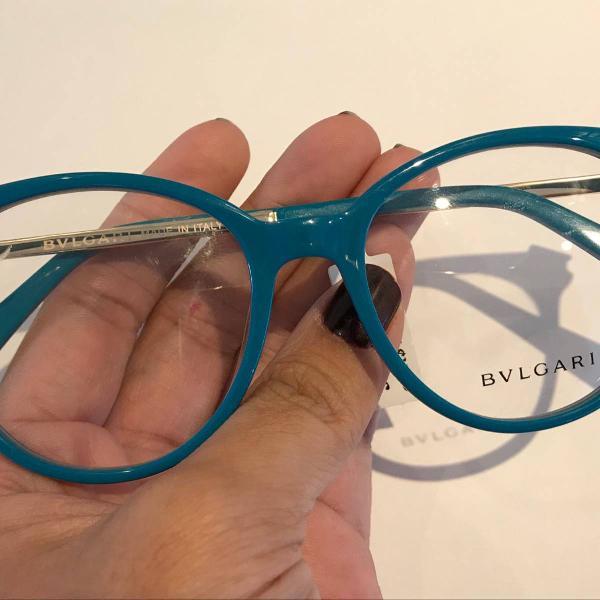 Armação óculos azul redonda