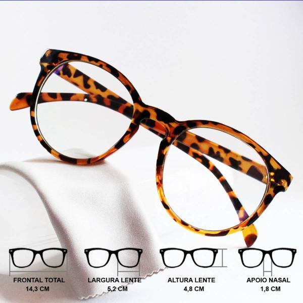 Armação óculos para grau redonda feminina grande vintage