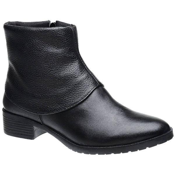 Bota feminina sem salto couro legítimo ankle boot
