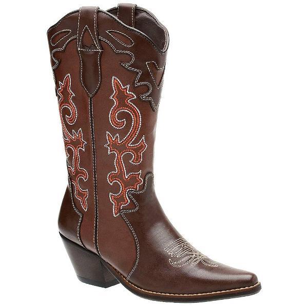 Bota feminina texana country em couro com bordado