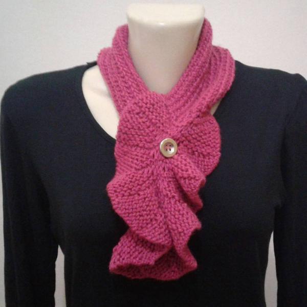 Cachecol flor rosa de tricô