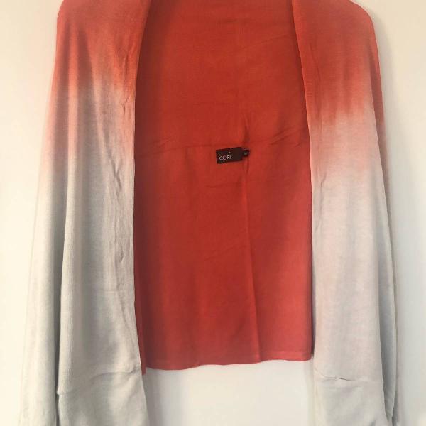 Cardigan/lenço/pashmina acessório tie dye cori laranja e