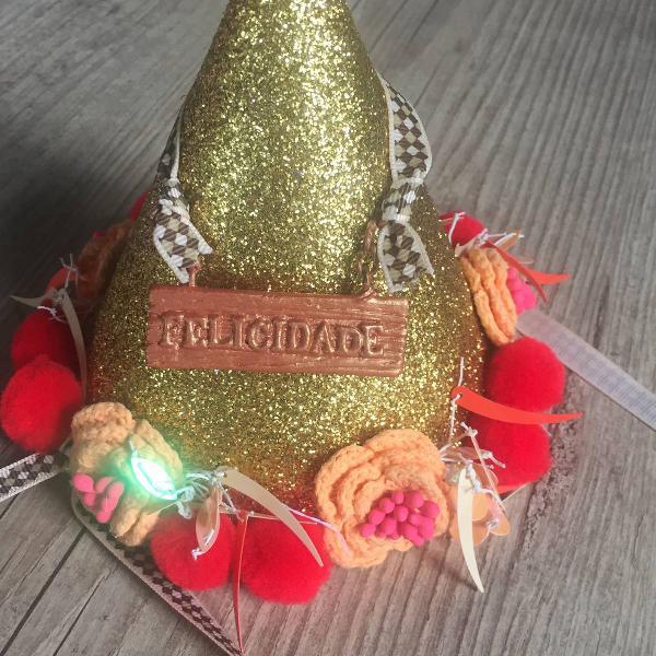 Chapéu glitter dourado