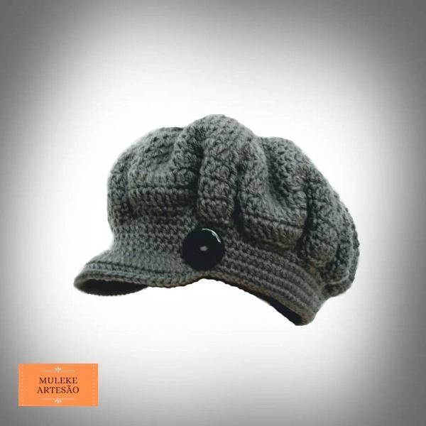 Chapéu/boina feminina em crochê adulto