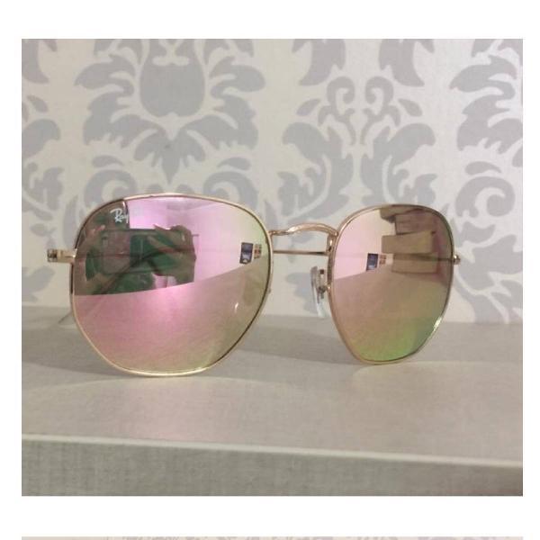 Culos ray ban exagonal rosé espelhado