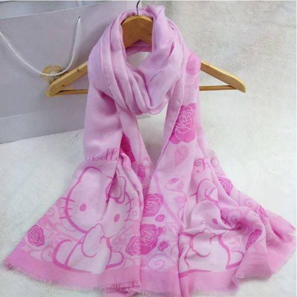 Echarpe hello kitty rosa lenço de pescoço cachecol