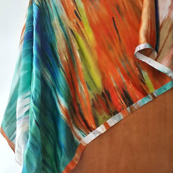 Lenço de seda tropical