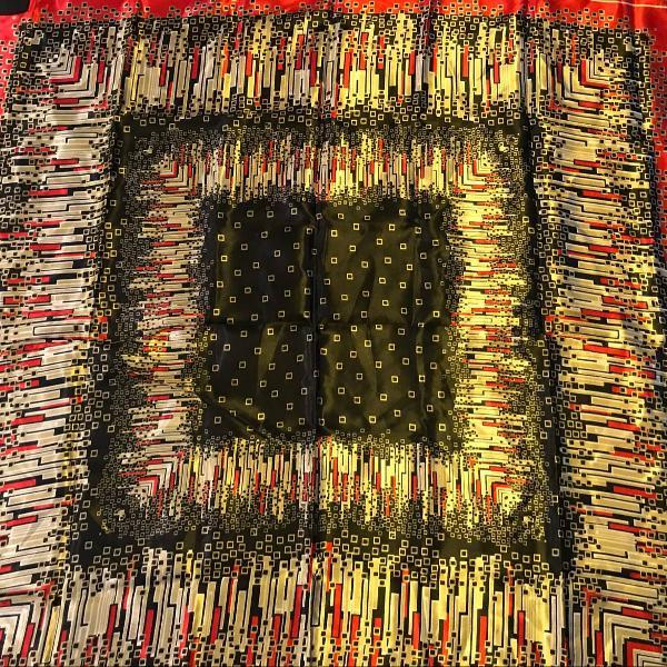 Lenço delicado de seda, estampa geométrica, preto,