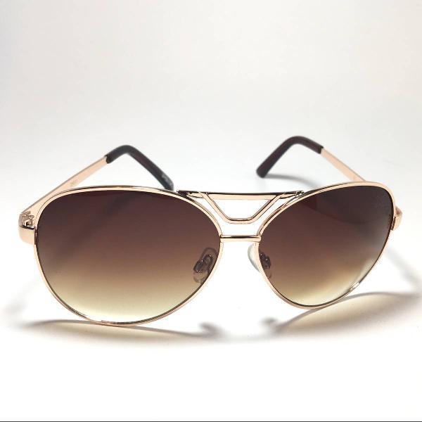 Oculos de sol aviador tipo rayban dourado