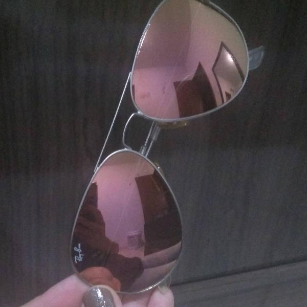 Oculos rayban rose espelhado