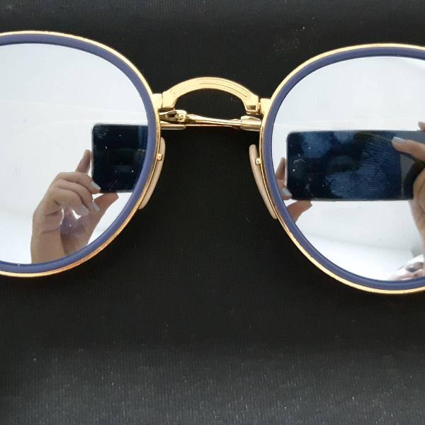 Rayban round dobrável azul espelhado