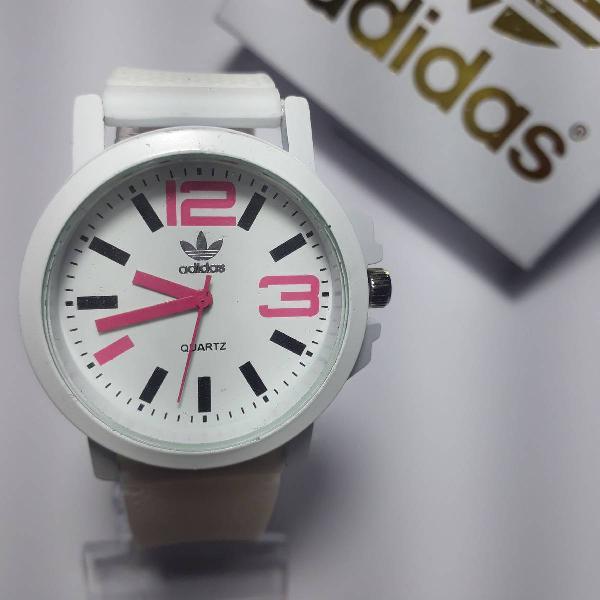 Relógio adidas de borracha branco com rosa novo na caixa