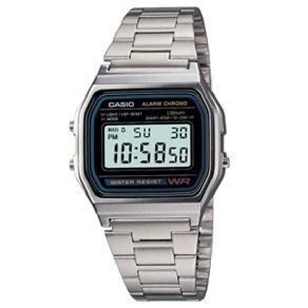 Relógio casio digital vintage a168 anos 70 prata