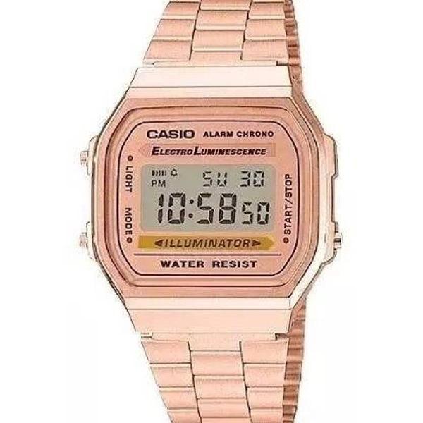Relógio casio digital vintage a168 anos 70 rosé