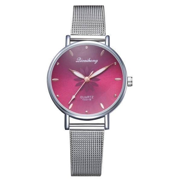 Relógio de pulso quartzo feminino vermelho 77 queens