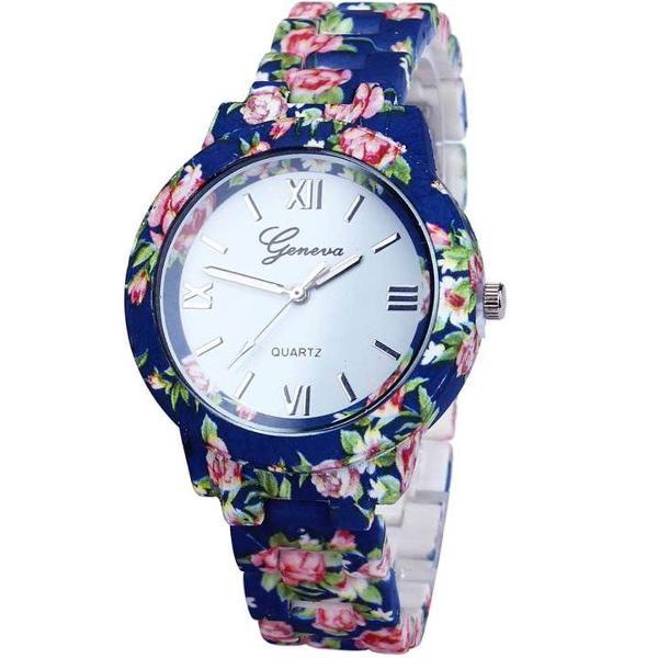 Relógio geneva de flor pulseira emborrachado