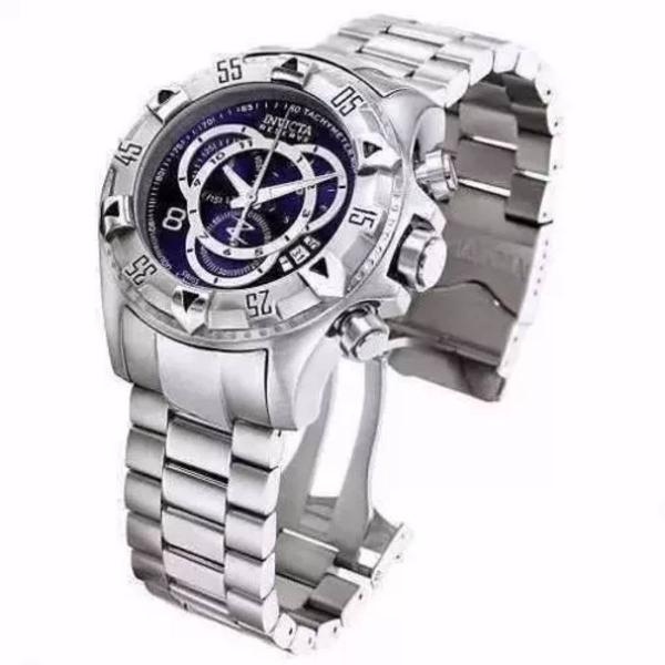 Relógio invicta reserve excursion 5526 prata azul caixa e