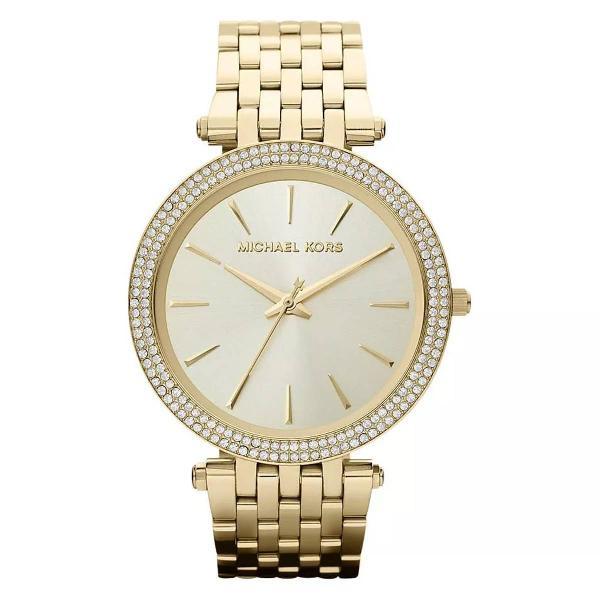 Relógio mk michael kors mk3191 dourado + caixa e manual