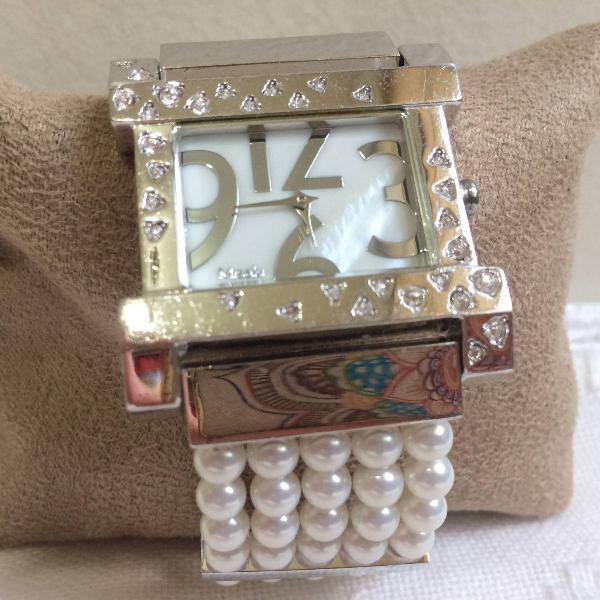 Relógio pulso feminino misaki pérolas naturais