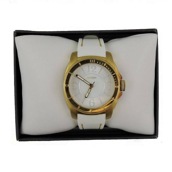 Relógio tommy hilfiger kelsey branco & dourado