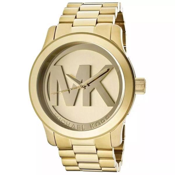 Relogio michael kors mk5473 logo mk dourado gold com caixa e