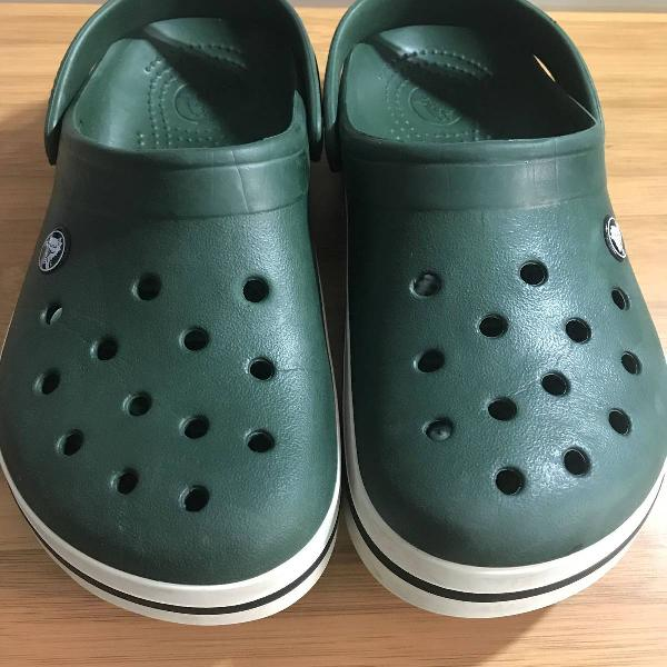Sandália crocs crocband original m6 w8 tam 37 br verde
