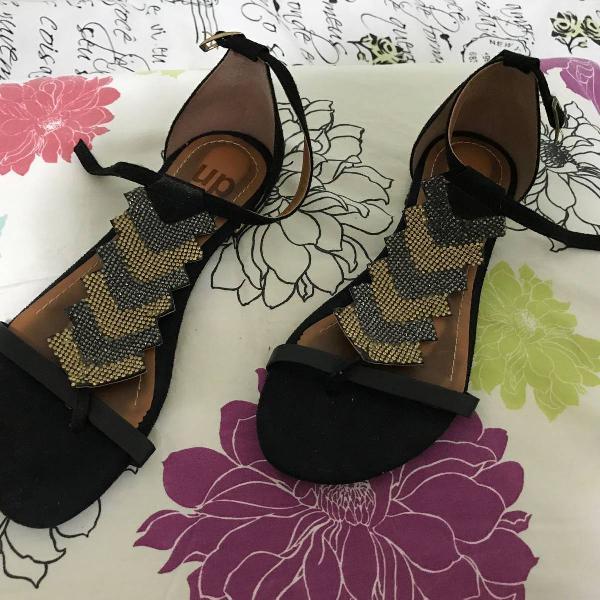 Sandália rasteirinha brilho