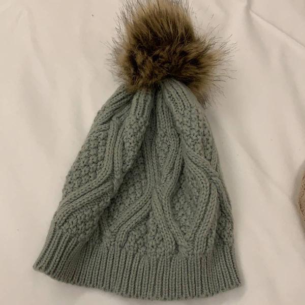 Touca de frio crochê inverno cinza