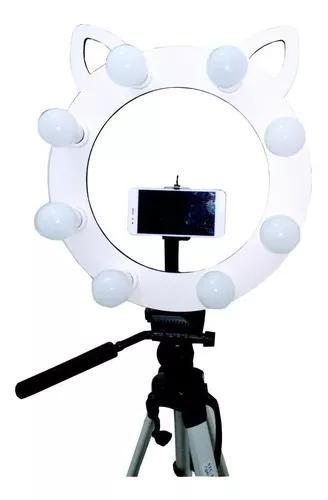 Ring light gatinho led tripé 1,30 suporte mesa flash grande