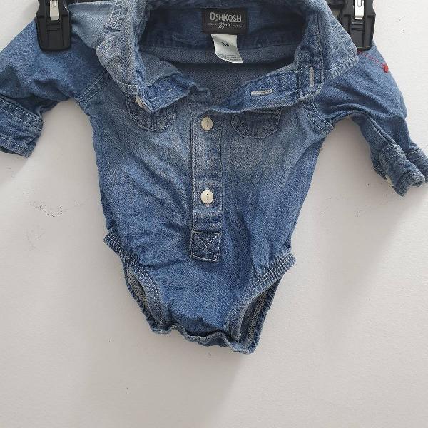 Body para bebê camisa jeans de manga da osh kosh