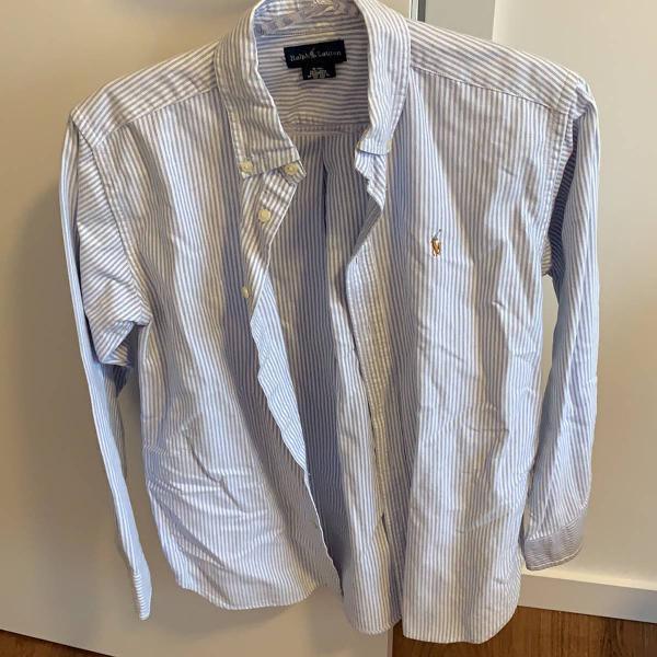 Camisa oxford listrada branco e azul ralph lauren