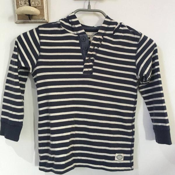 Camiseta infantil manga longa com capuz h&m