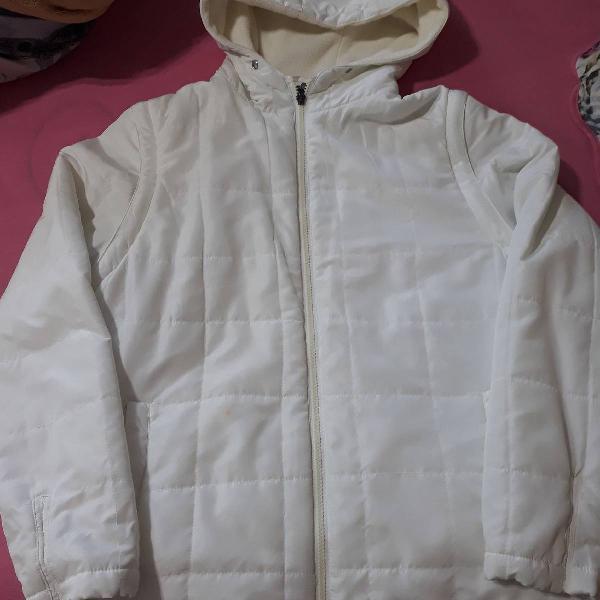 casaco/ colete branco com capuz