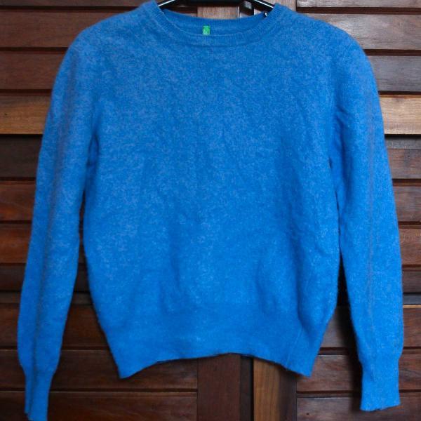 Casaco de lã infantil azul claro benetton