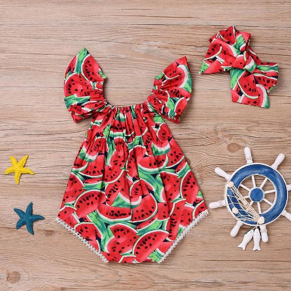 Conjunto body bebê menina infantil mesversário melancia