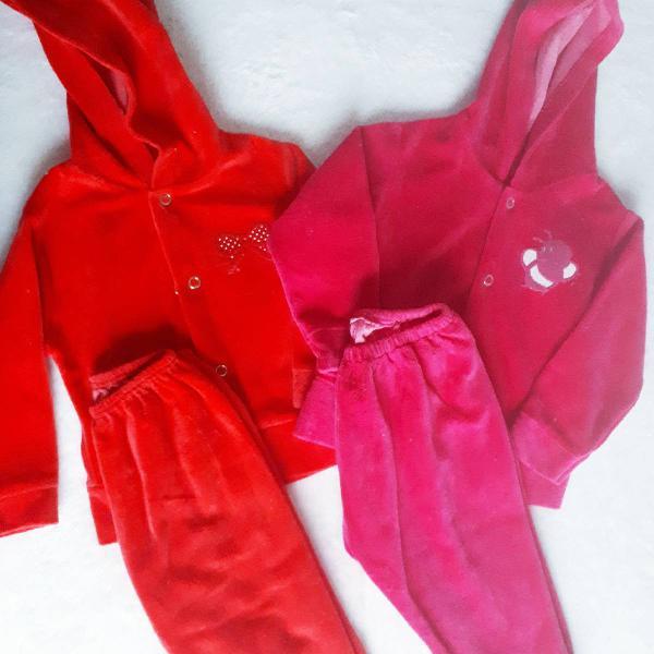 Kit 2 conjuntos em plush vermelho p e rosa m