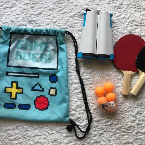 Kit ping pong tenis de mesa raquetes rede bolinha