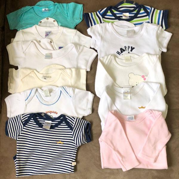 Lote kit 11 bodys bodies infantil bebê - g