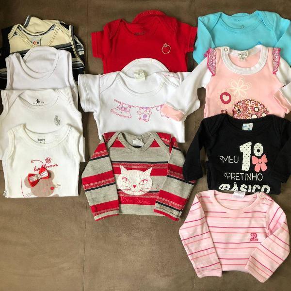 Lote kit 11 bodys bodies infantil bebê - p