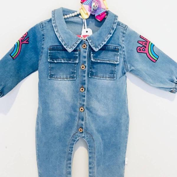 Macacão jeans infantil charmoso