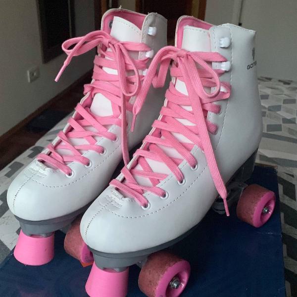 Patins 4 rodas gonew quad retrô branco e rosa (tam.40)