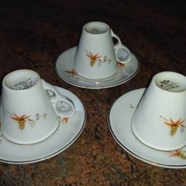 3 xícaras/pires ano 1957 café porcelana real