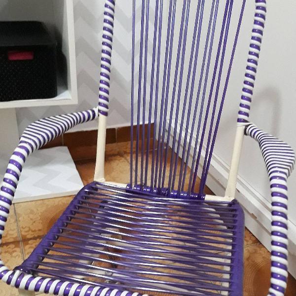 Cadeira de balanço, linda, roxa, para crianças até 12