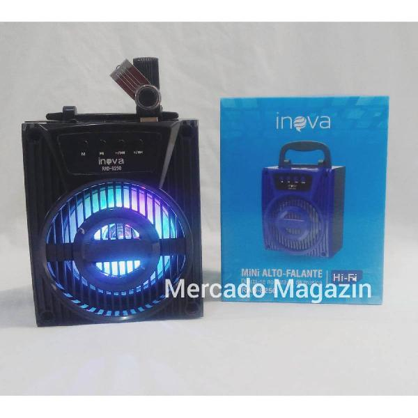 Caixa de som portátil bluetooth mp3 sd,usb,led e fm
