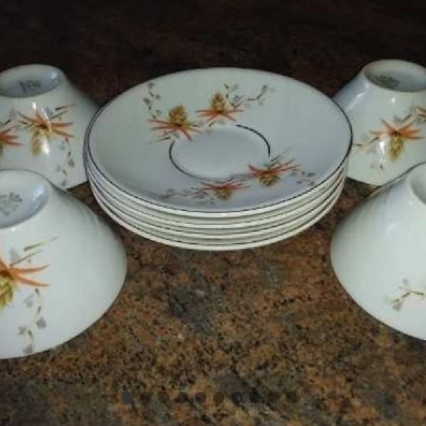 Jogo 4 xícaras/pires chá 1957 porcelana real antiga