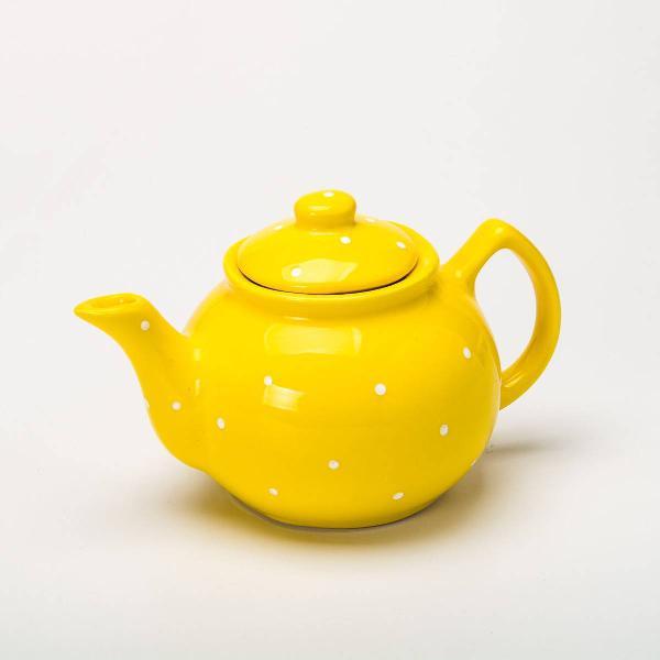 Bule de chá cerâmica decorado amarelo poá 700 ml