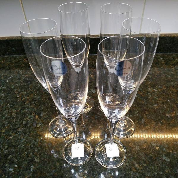 Conjunto taças de espumante cristal oxford